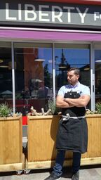 Executive chef Geoffrey Caliger outside the downtown reno restaurant where he works.