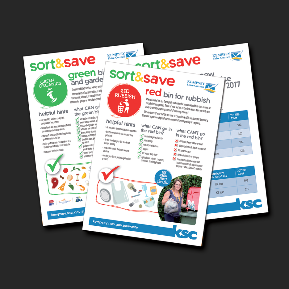 Graphic Design for Kempsey Shire Council's Sort and Save A4 Fact sheets, educating the public in the new three stream waste service.