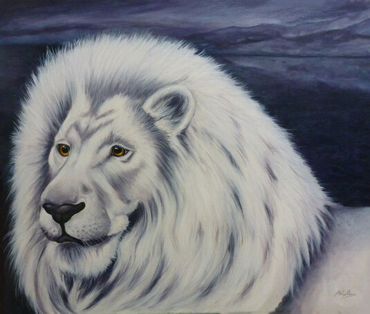 oil painting of majestic white lion