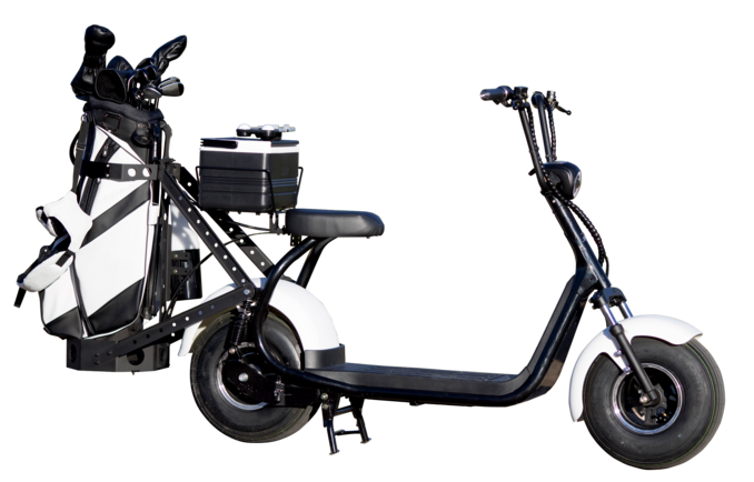 Side view of the white phatty hd electric golf scooter