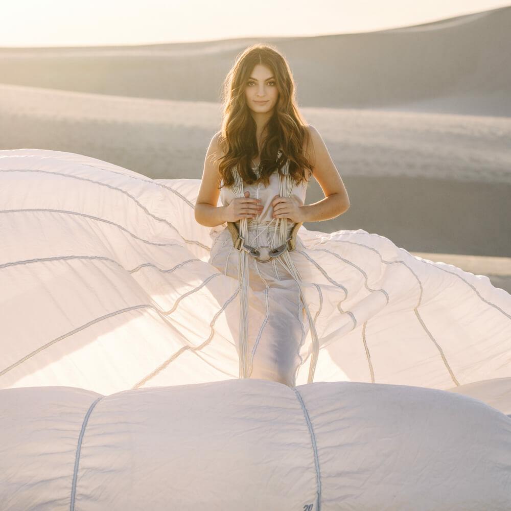 parachute gown dunes portrait