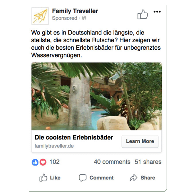 Eine Case Study von collab-ed, einer mehrfach ausgezeichnete, internationale Werbeagentur: Family Traveller Social Media (DACH)