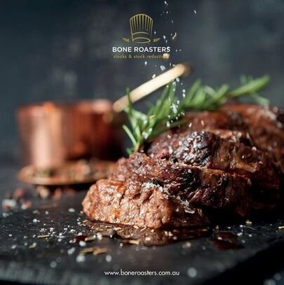 A succulent steak with Bone Roaster's Jus on top as sauce.