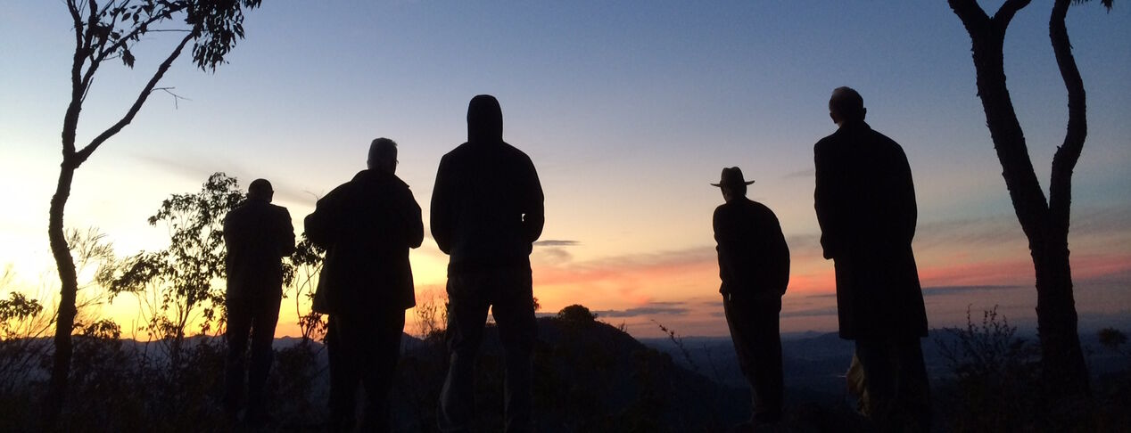 Men's group in Nature - Sunset