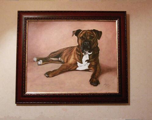 bull terrier oil painting by Jane Indigo
