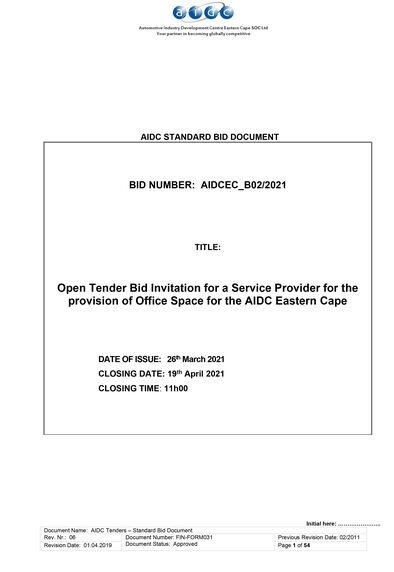AIDCEC tender B02 2021 Office Space 1