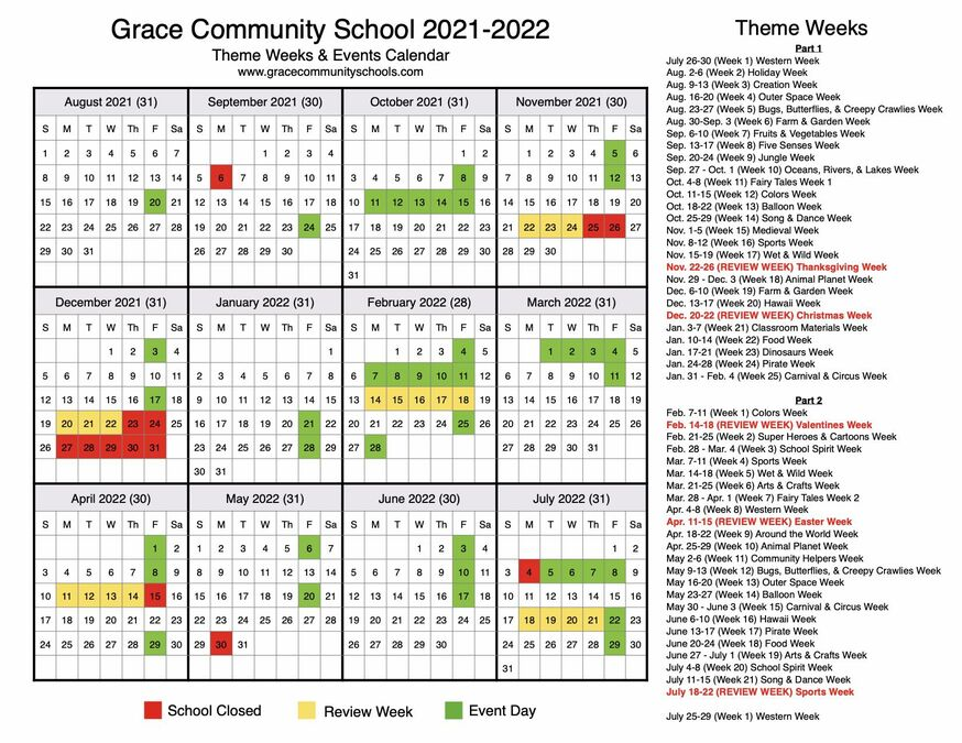 GCS 2021 2022 Theme Week and Event Schedule