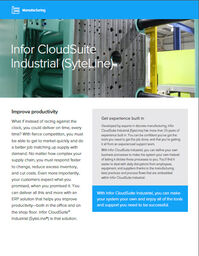 Infor CloudSuite Industrial SyteLine Manufacturing ERP Brochure