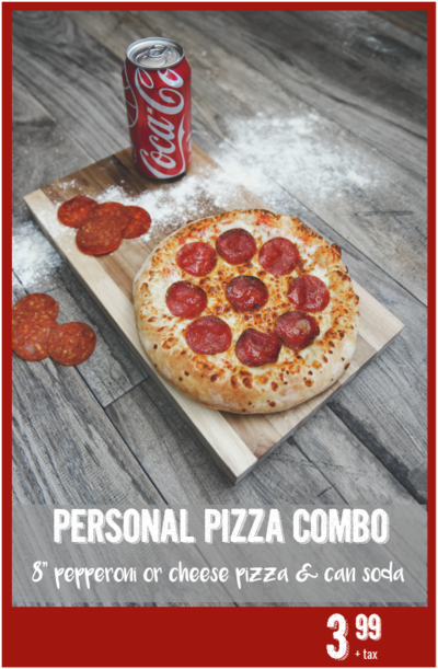 Personal pizza combo with coca cola