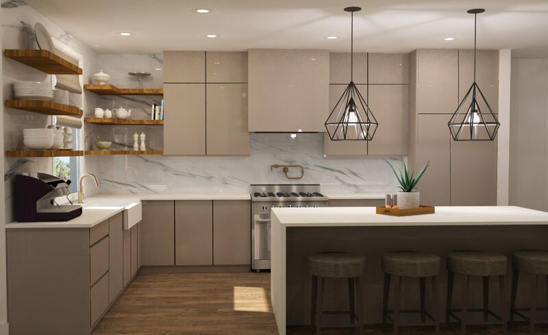 Modern taupe kitchen with brass fixtures and floating wood shelves flanking large farmhouse sink, black modern pendants over island