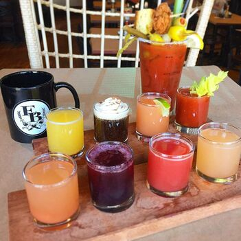 Chicken and a biscuit bloody mary, classic brunch flight, mimosa flight and a cup of Water Avenue coffee!, Eastburn, pdx