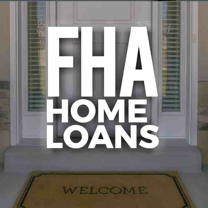 FHA Home Loans Thumbnail. Text over a background image of a front porch with a welcome mat