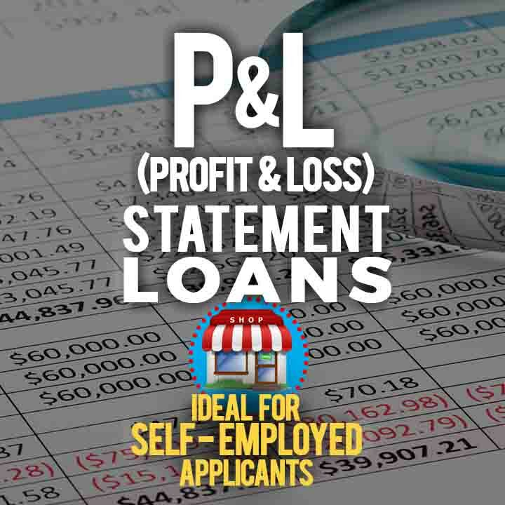 P&L (Profit and Loss) Statement Loans text over a background image of Bank Statements laying on a table