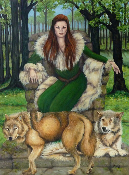 A mystical forest scene painted by Jane Indigo Moore with wolves and a mythical woman