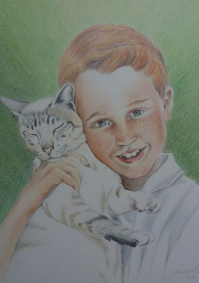 Drawing of a young boy with his cat colour pencils