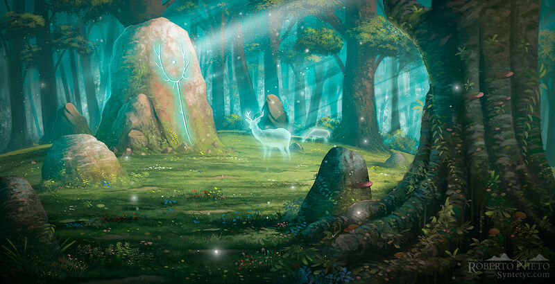 Illustration of magical forest with an ancient rock. Digital illustration by Syntetyc - Roberto Nieto